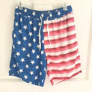 OLD NAVY American Flag Swim Trunks Pockets SZ S